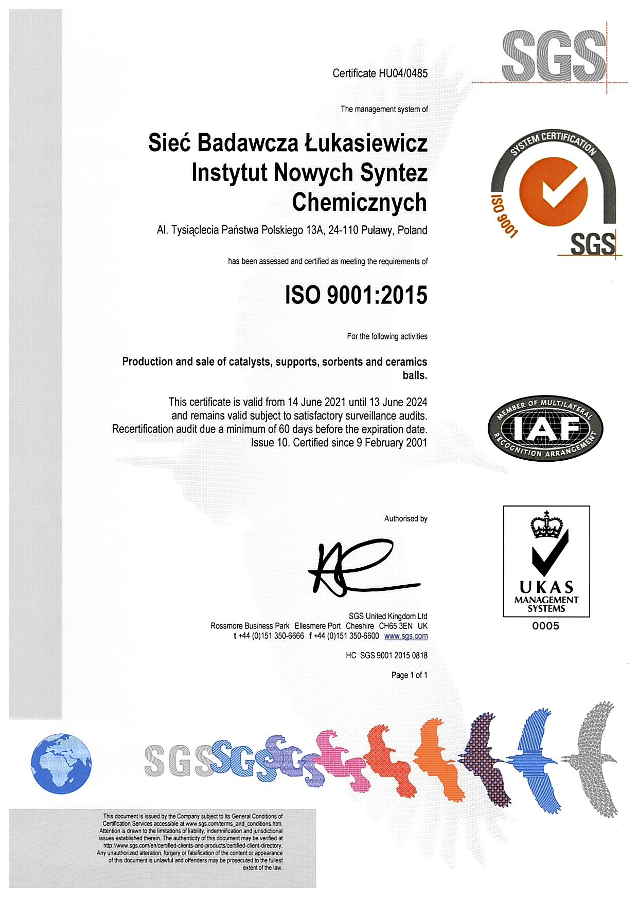 ISO 9001:2015 - Production and sale of catalysts, supports, sorbents and ceramics balls